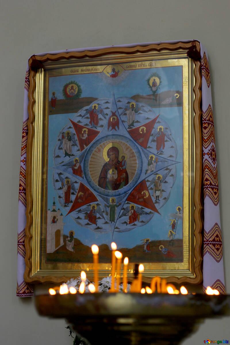 Turm in Grundmalerei Candels Altarrahmen №51689
