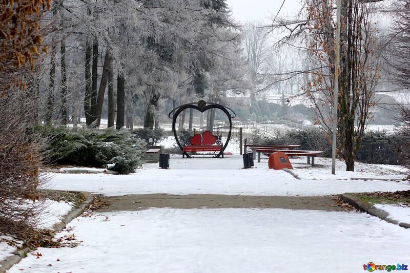 snow park Winter love bench №51313