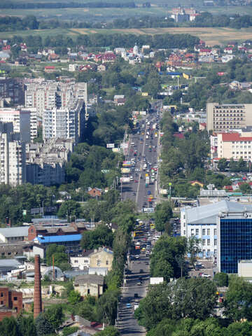 City scene from above with road in the center №52103