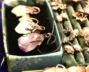 Quartz siamond necklase jewellery necklace №52960