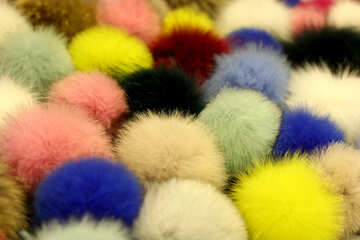 Pompoms fluffy balls lots of fuzz colors №52973