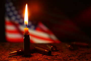 A candle with american flag in the background №52512