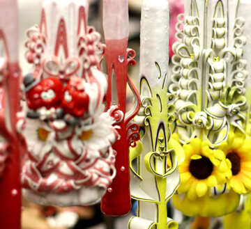 Flower Carved candles and flowers decoration art №52927