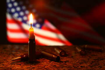 a candle and the flag of america №52505