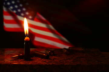 Candle light in front of a flag USA №52531