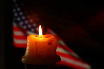 American flag with a candle №52486