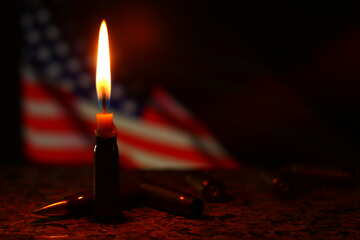 candle with an american flag in the background №52521