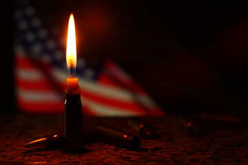 candle in front of an american flag №52520
