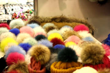 woolen caps fuzzy yellow blue Winter poms №52970
