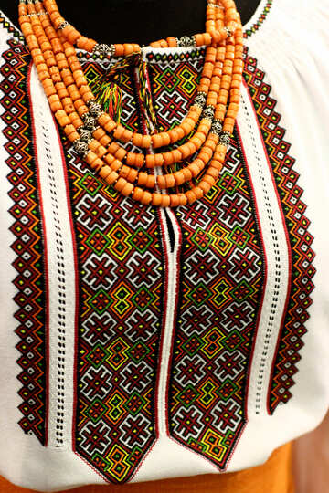 Shirt with orange beads necklace on printed blouse dress with beads traditional Cloth Ukrainian  Ornaments №52845