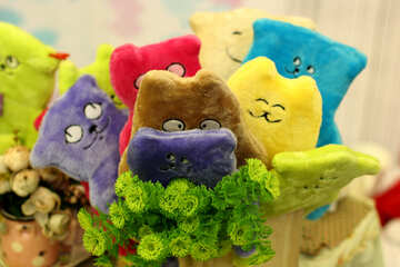 bouquet of colorful plush cat-shaped toys №52963
