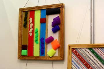 Linee e scarabocchi incorniciato cornice opere d`arte wall art oggetti manuali nastri colorati bordo astratto №52586