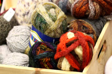 colored wool balls yarn Threads №52748
