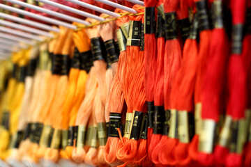 Orange embroidery thread various colors of yarn silk №52547