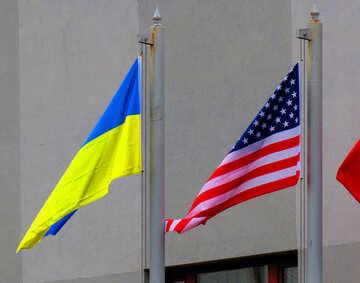 Flaggen USA und Ukraine №52470