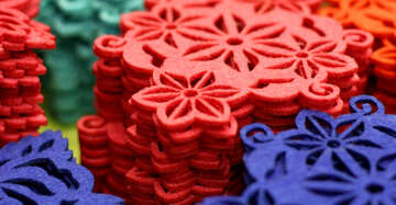 red and blue flower ornaments
