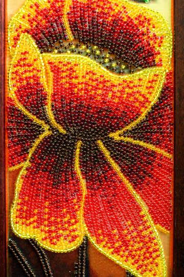 orange flower beaded №52666
