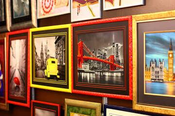 Framed photographs on wall art gallery №52677