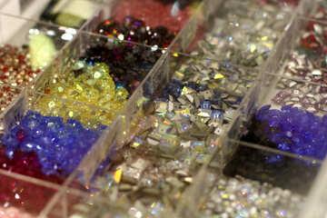 glass glitter beads №52551