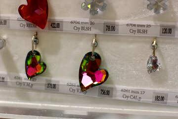 heart-shaped earrings on sale little cristal key charms №52544