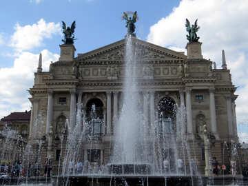 Fuente de agua edificio de la casa y estatuas. №52261
