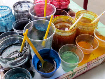 Color paint inks Cups pots №52392