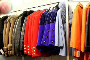 Clothes jackets on a rack №52614