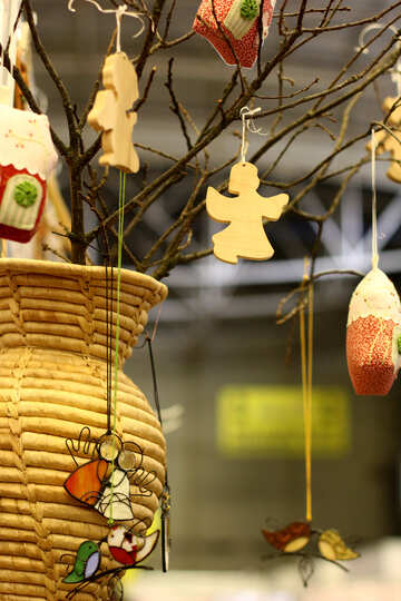 Vase twigs holding ornaments angel decor №52953