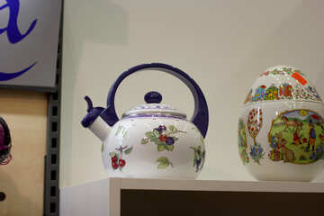 ceramic two tea pot kettles oldschool vintage №52801