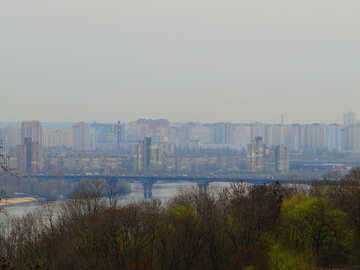 a city and a bridge and trees or forest №52418