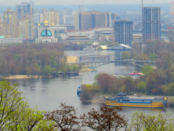 City river and boats trees landscape №52454