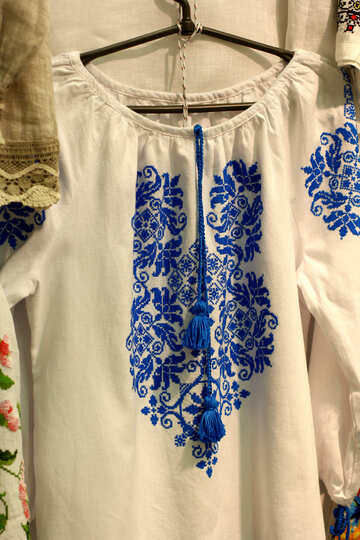 shirt blue ornament dress color white №52772