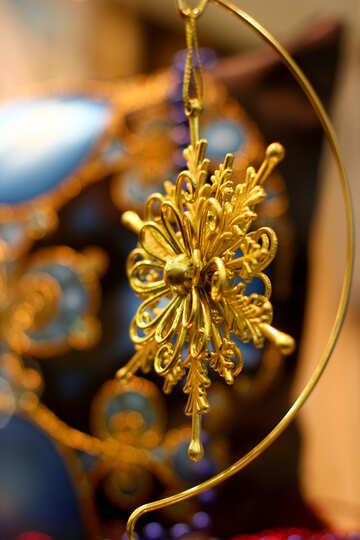 Подвесной золотой звездный декор Снежинка №52792