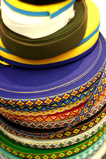 Fabric rolls tapes stack ribbons colorful №52583