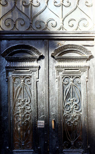A beautiful old wooden  door texture curved  doors №52013