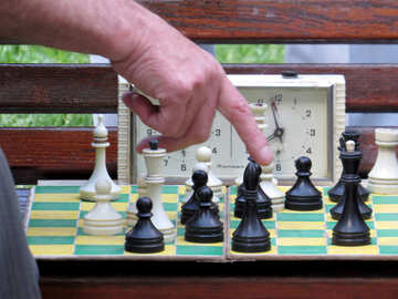 A hand touching a piece chess №52292