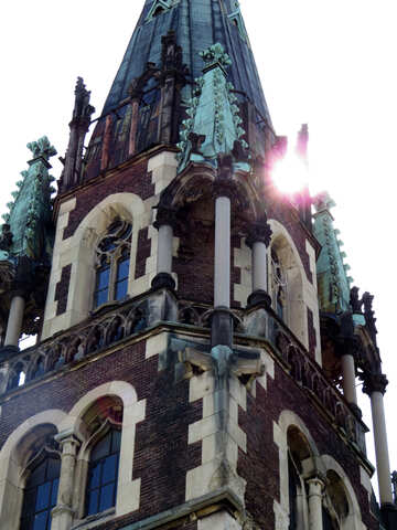 A neogothic building tower church castle in the sunlight №52226