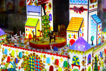 Toy castle colorful scene of buildings and a carousel dollhouse №52009