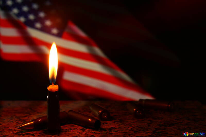 a flag with a candle in front of it american USA flag and flame №52534