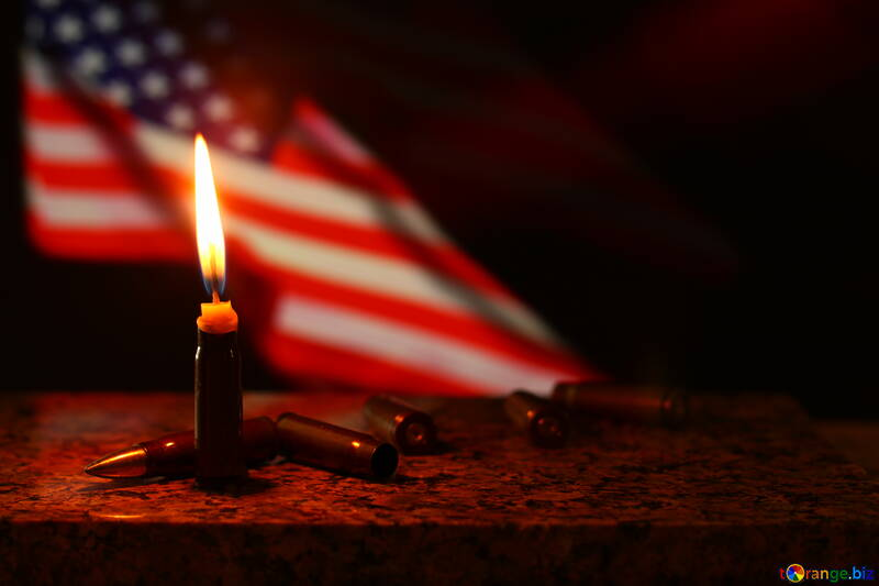 candle, flame, infront of american flag №52529
