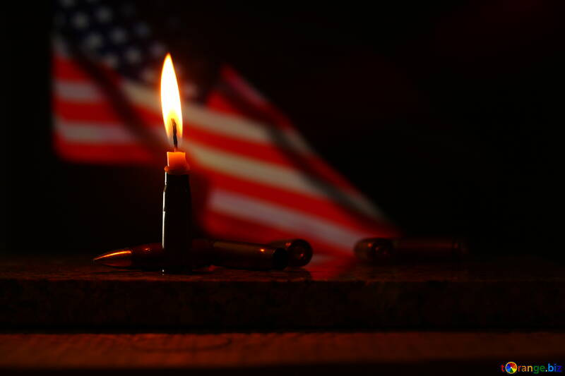 a candle in-front of an American flag sign element №52524