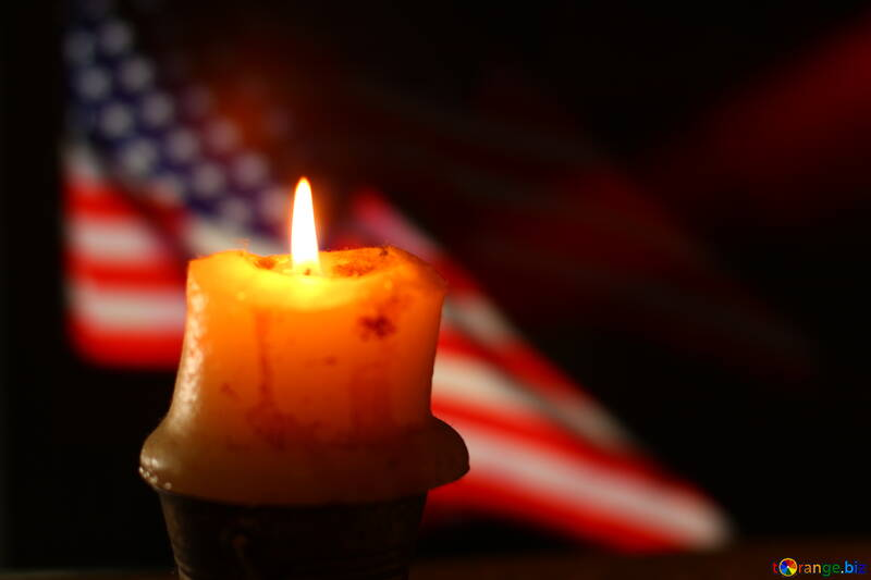 Candle with USA flag on the back №52489
