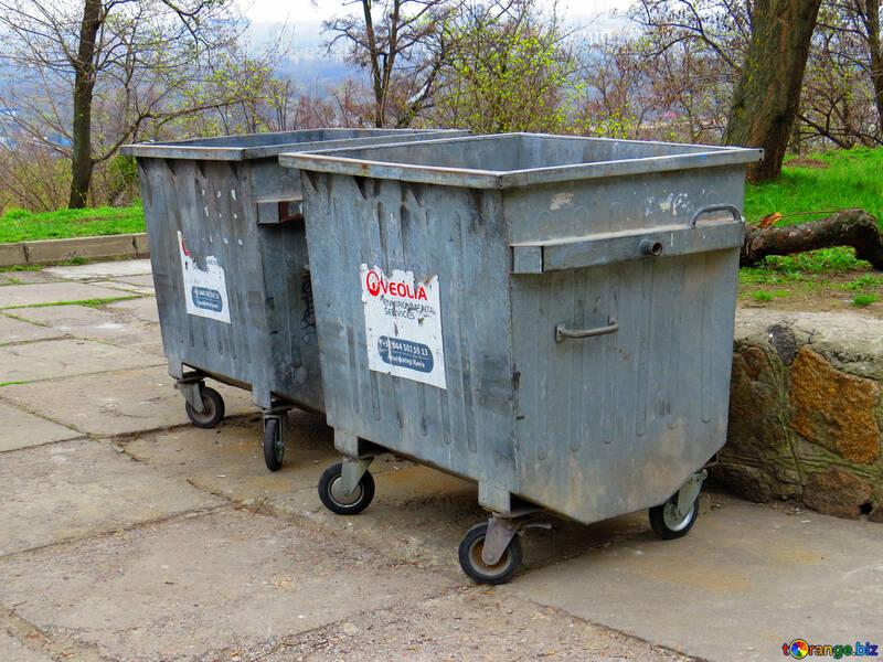 two garbage carts dumpsters Bins №52441
