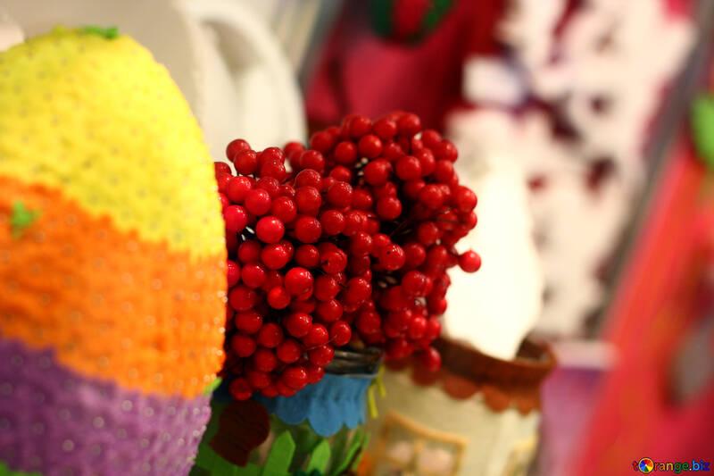 decorations ornaments yarn woolen fruit Berries №52797