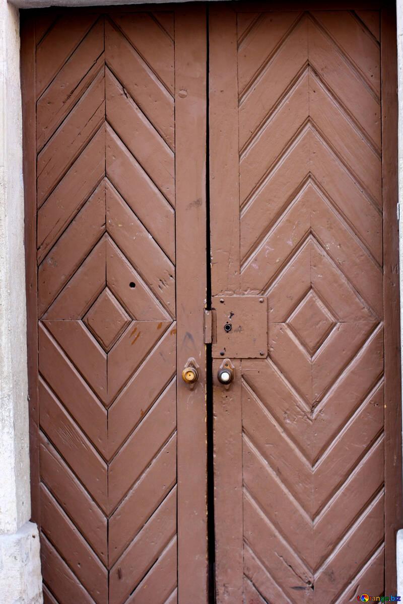 Wooden double doors №52014