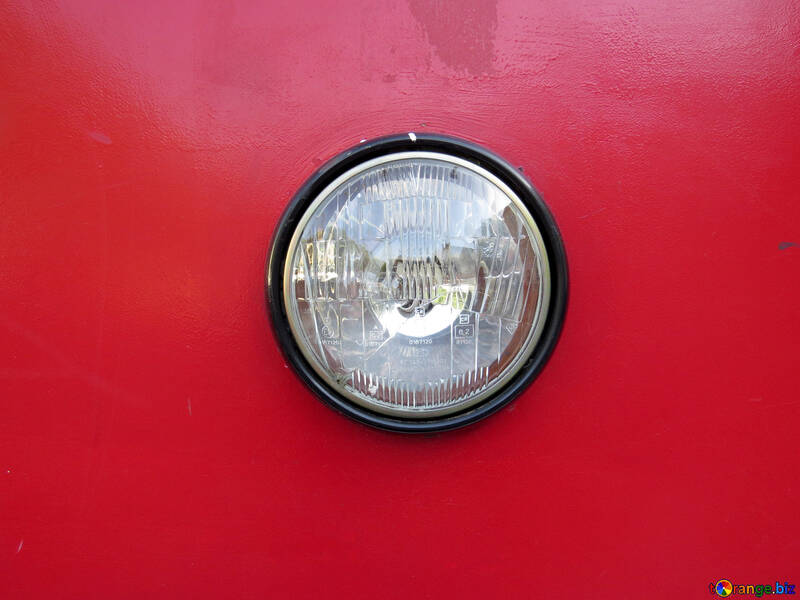 Glass headlight vintage car red №52163