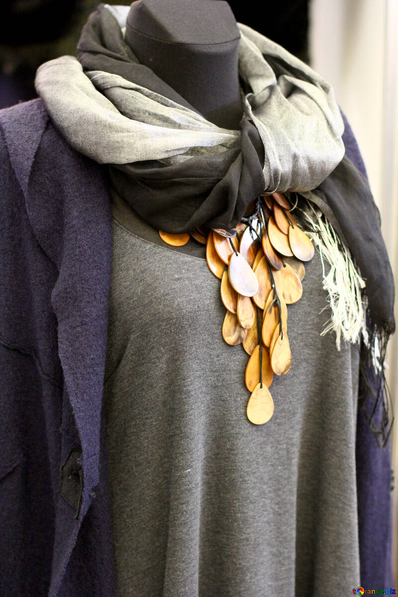 a purple cardigan, a grey scarf, and a gold necklace women dress coins in nect №52651