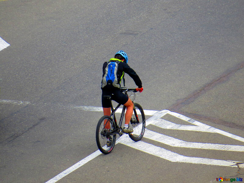 Byciclist person riding a bicycle on the street №52458