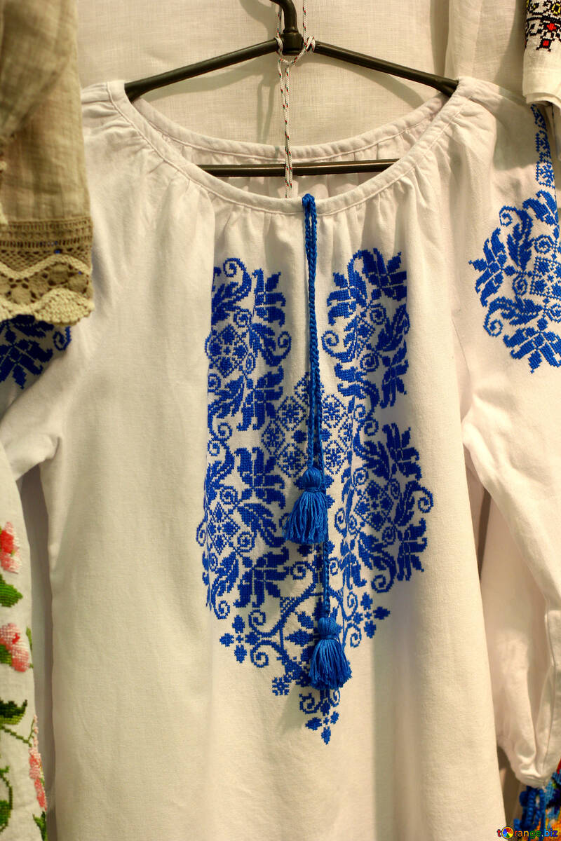 shirt blue ornament dress color white №52772