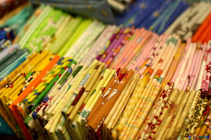 Fabrics Folded Sticks color squares Clothes wrapping №52789
